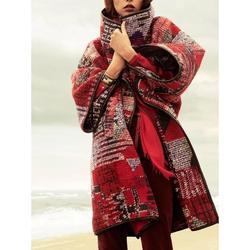 Dámsky kabát v červenej farbe